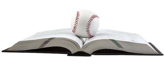 baseball on book